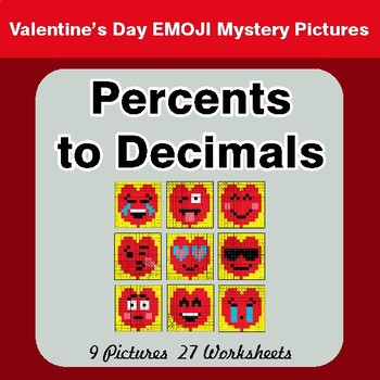 Valentine's Day: Percents to Decimals - Color-By-Number Mystery Pictures