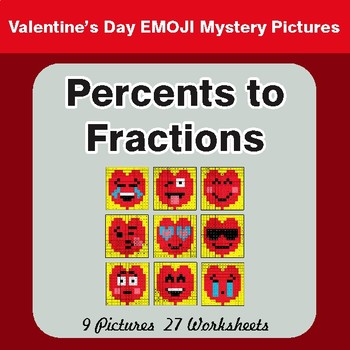 Valentine's Day: Percents to Fractions - Color-By-Number Math Mystery Pictures