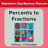 Percents to Fractions - Color-By-Number Valentine's Math M
