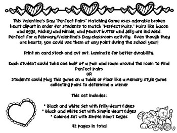 """Valentine's Day """"Perfect Pairs"""" Matching Game"""