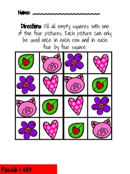 Valentine's Day Picture Sudoku Puzzles
