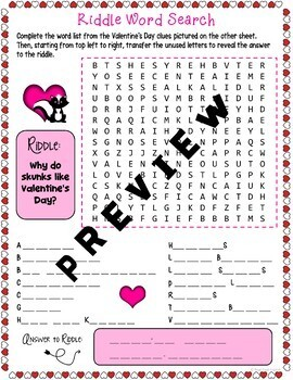 Valentine's Day Picture Word Search Puzzle