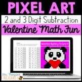 Valentine's Day Pixel Art Math for Google Sheets™ - 2 & 3 Digit Subtraction