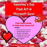 Valentine's Day Pixel Art - Microsoft Excel or Google Sheets | Distance Learning