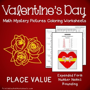 Valentine's Day Place Value Coloring Worksheets