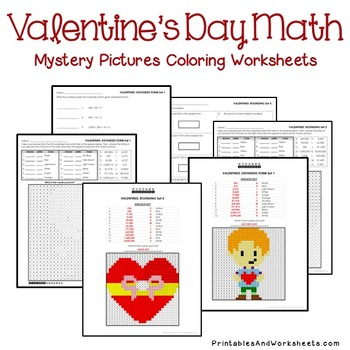 Valentine's Day Place Value Sheets, Valentine's Place Value Mystery Pictures