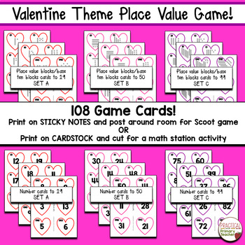 Place Value Game - Valentine's Day Hearts Theme Math