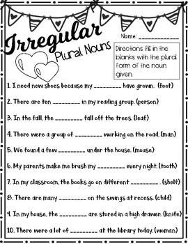 Valentine's Day Plural Nouns - Irregular & Regular