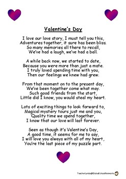 Valentine's Day Poem by Teacher Lynda at Global School Networks | TpT