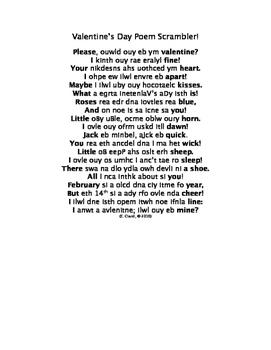 Valentine's Day Poem Scrambler
