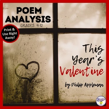"""Valentines Day Close Reading and Poetry Analysis: """"This Year's Valentine"""""""