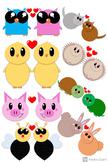 Valentine's Day Polka Dot Critters Clipart Set