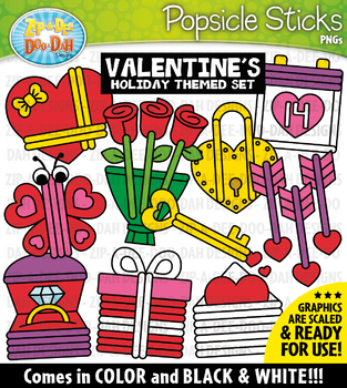 Valentine's Day Popsicle Sticks Pictures Clipart {Zip-A-Dee-Doo-Dah Designs}