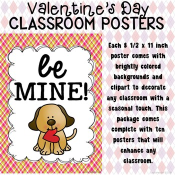 Valentine's Day Poster Set for the Classroom
