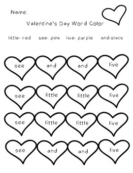 Valentine's Day Power Word Coloring Sheets