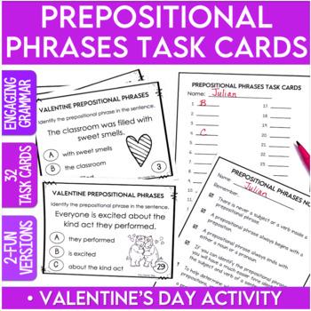 Valentine's Day Prepositional Phrases Task Cards