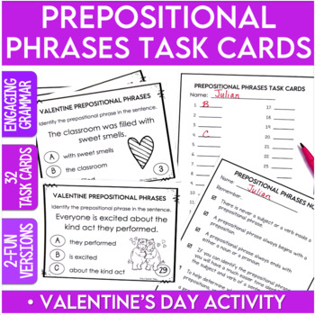Valentine's Day Activity Prepositional Phrases Task Cards
