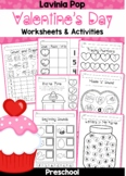 Valentine's Day Preschool No Prep Worksheets and Activities