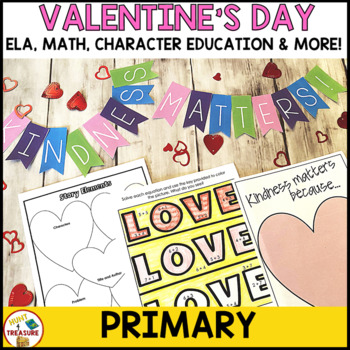 Valentine's Day Primary Activities and Bulletin Board Pack- ELA, Math & More