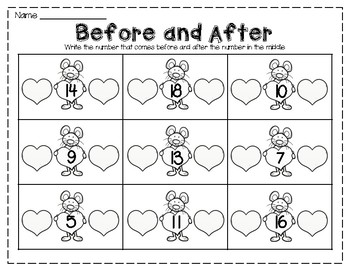 Valentine's Day Print and Go: Math and Literacy