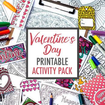 Valentine's Day Printable Activity Pack | Coloring pages, bookmarks, cards +more
