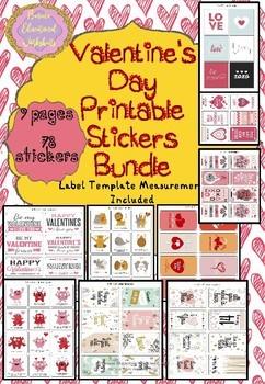 Valentine's Day Printable Stickers Bundle, Color