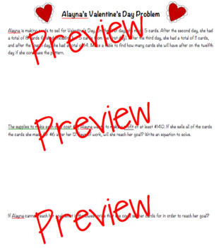 Valentine's Day Problem Solving, Critical Thinking, Open Response