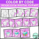 Valentine's Day Progression Color by Code Digital Clipart