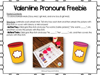 Valentine's Day Pronouns Freebie for Speech Therapy