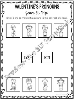 Valentine's Day Pronouns- No Prep Activities for Speech Therapy/ESl/EFl