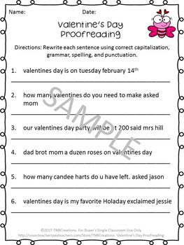 Valentine's Day Proofreading Worksheets