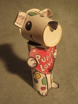 Valentine's Day Puppy Love. Fun 3D Crafts Art