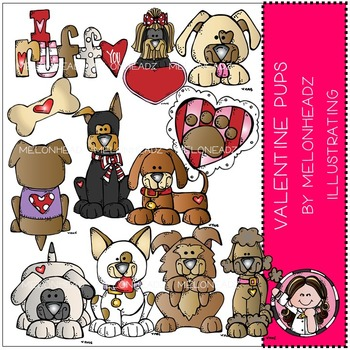 Valentine's Day Pups clip art - COMBO PACK- by Melonheadz