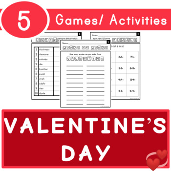 Valentine's Day Puzzle Games/ Activities