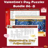 Valentine's Day Puzzles Bundle Grade 6-8 with Bonus Activity