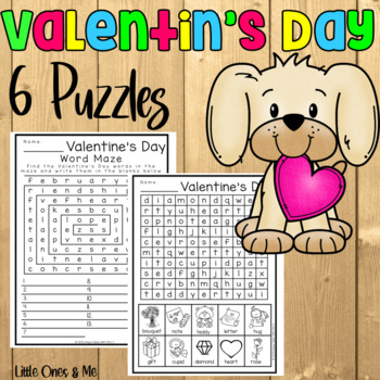 Valentine's Day Puzzles Word Search Crossword