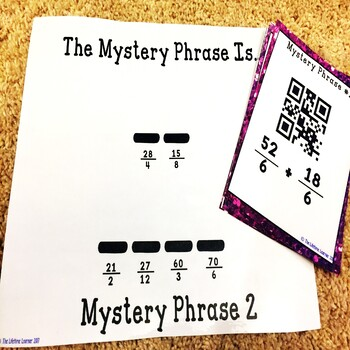 Valentine's Day QR Code Game Add and Subtract Fractions