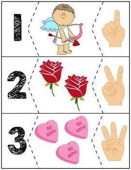 "Valentine's Day Quantity Puzzles #1-10   ""Show me fingers"" Version"
