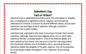 Valentine's Day - Questioning and Comprehension Task