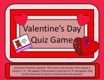 Valentine's Day Quiz Game - Power Point