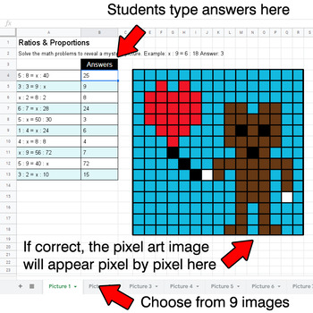 Valentine's Day - Ratios & Proportions - Google Sheets Pixel Art