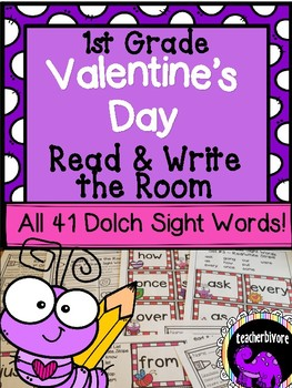 Valentine's Day Read and Write the Room - First Grade Dolch Sight Words