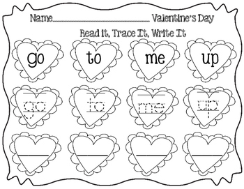 Valentine's Day- Read it, Trace it, Write it Sight Words