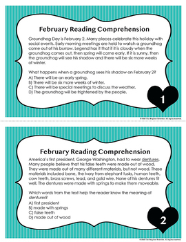 February Reading Task Cards