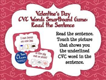 Valentine's Day Reading CVC Sentences Game (Smartboard/Promethean Board)