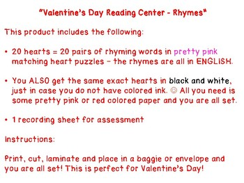 Valentine's Day Reading Center - Rhyming Words