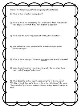 Valentine's Day Reading Comprehension - No Prep - Middle/High School