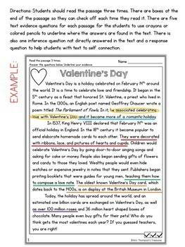 Valentine's Day Reading Comprehension Nonfiction Grades 4-5