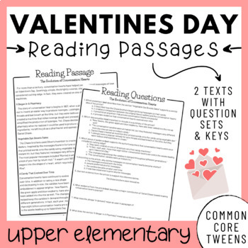 Valentine's Day Reading Comprehension Passages and Questions (Upper Elementary)