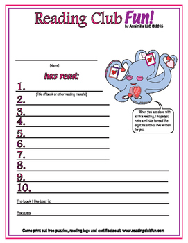 Valentine's Day Reading Log and Certificate Set